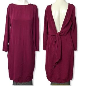 Massimo Dutti • Red Open Back Bow Dress • Size 10